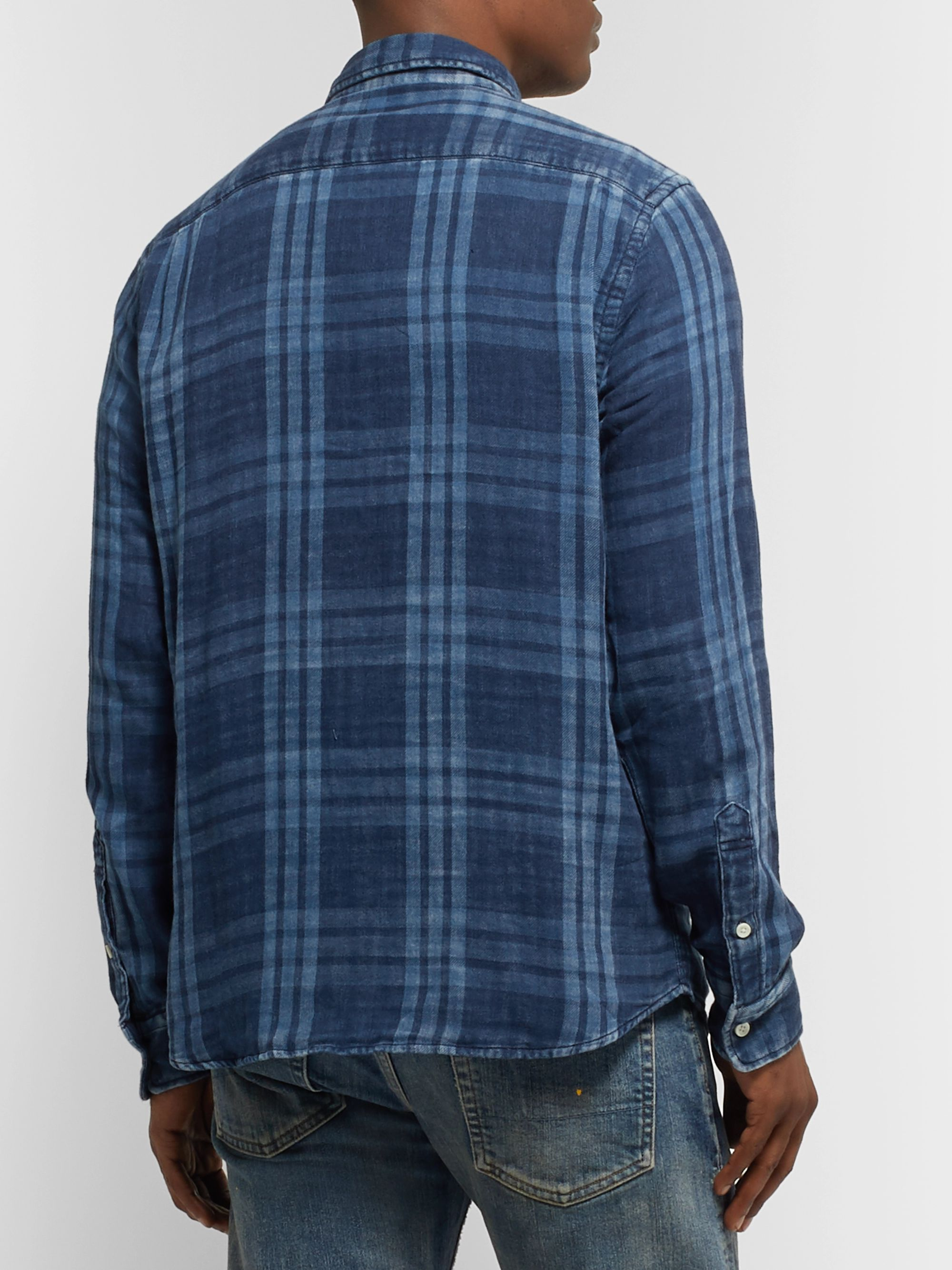 Faherty Button-Down Collar Indigo-Dyed Checked Cotton-Flannel Shirt