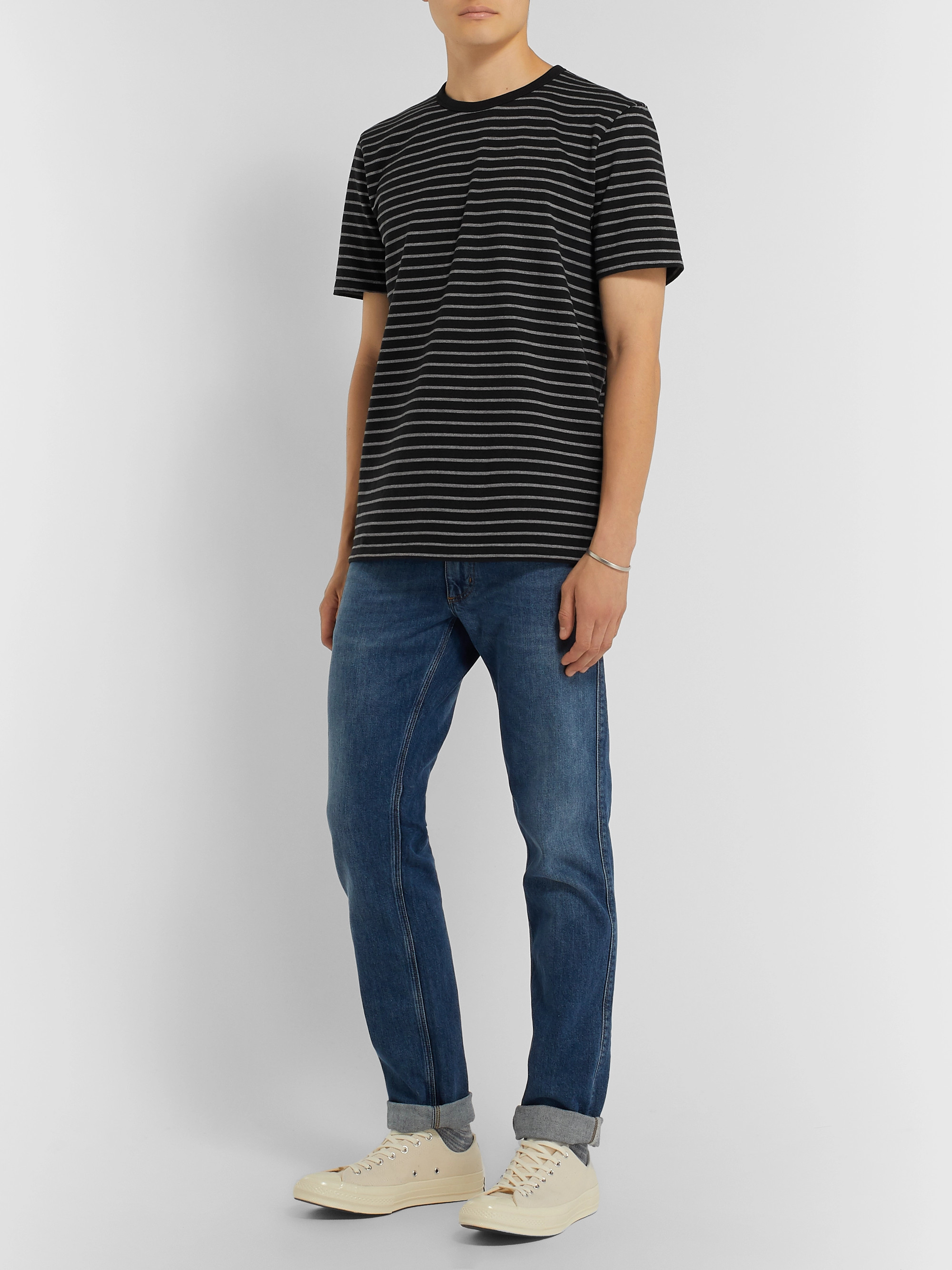 FRAME Striped Cotton-Jersey T-Shirt