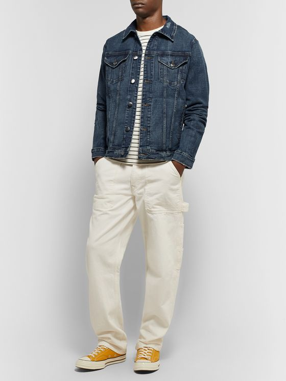 FRAME L'Homme Distressed Stretch-Denim Jacket