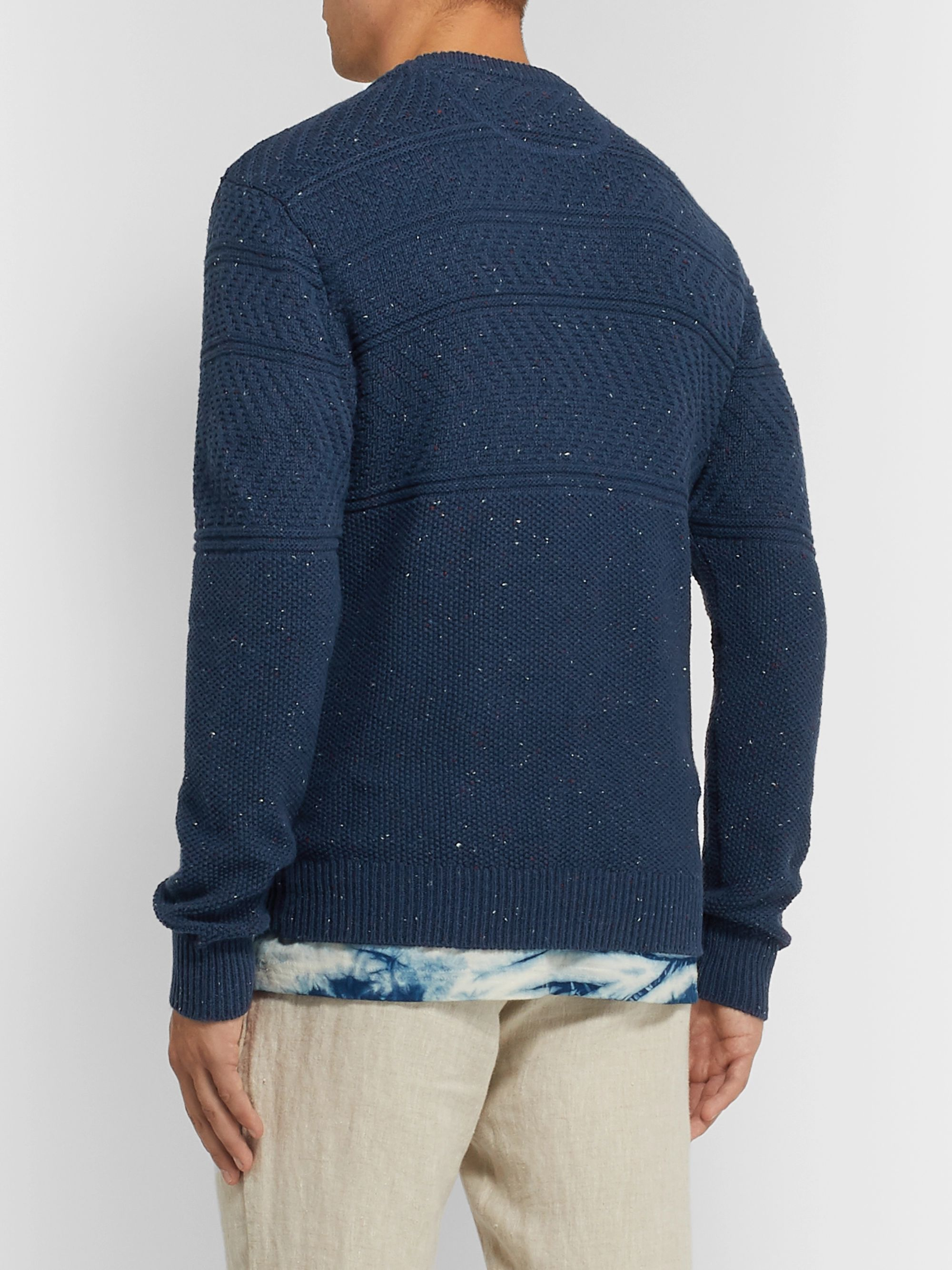 Faherty Guernsey Textured-Knit Cotton-Blend Sweater