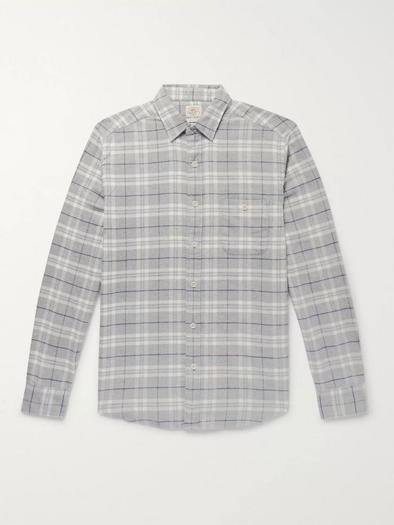 Faherty Seaview Checked Organic Stretch Cotton-Flannel Shirt