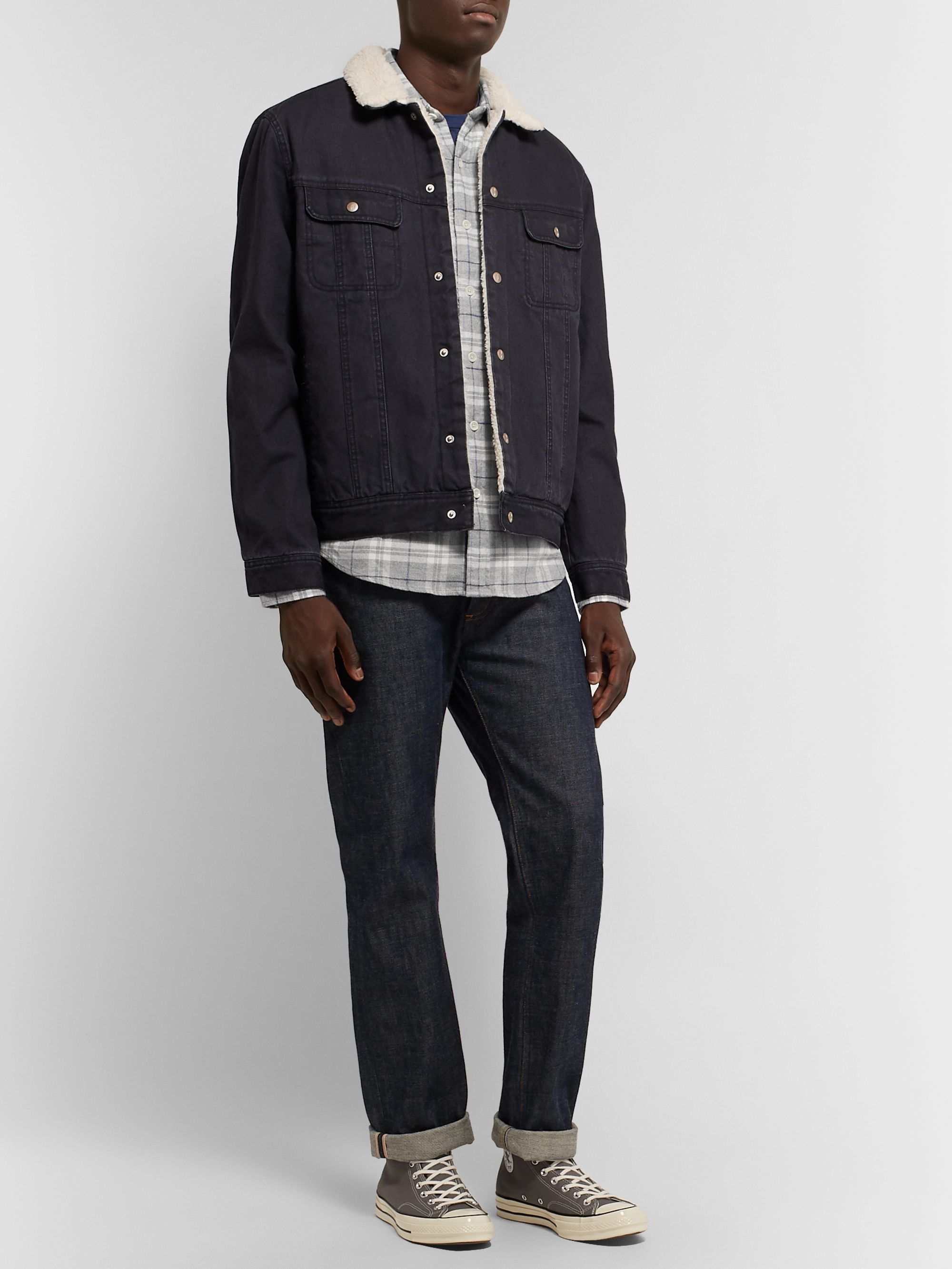 Faherty Seaview Checked Cotton-Blend Flannel Shirt
