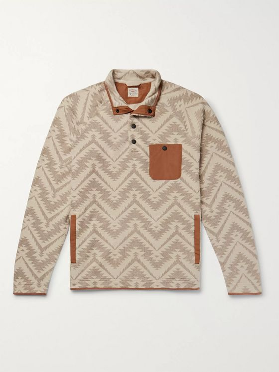 Faherty Monument Valley Shell-Trimmed Printed Cotton-Blend Fleece Sweatshirt