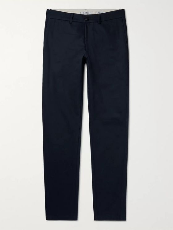 Freemans Sporting Club Navy Herringbone Cotton Trousers