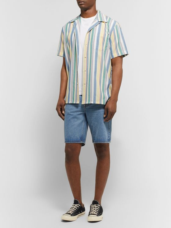 Freemans Sporting Club Camp-Collar Indigo-Dyed Striped Cotton Shirt