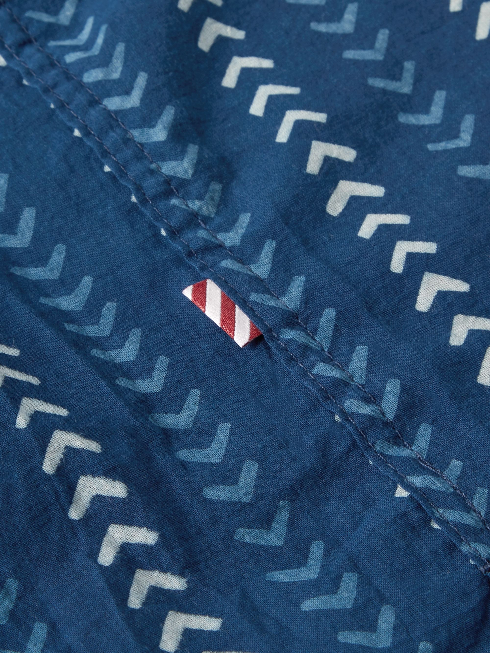 Freemans Sporting Club Camp-Collar Indigo-Dyed Printed Cotton Shirt