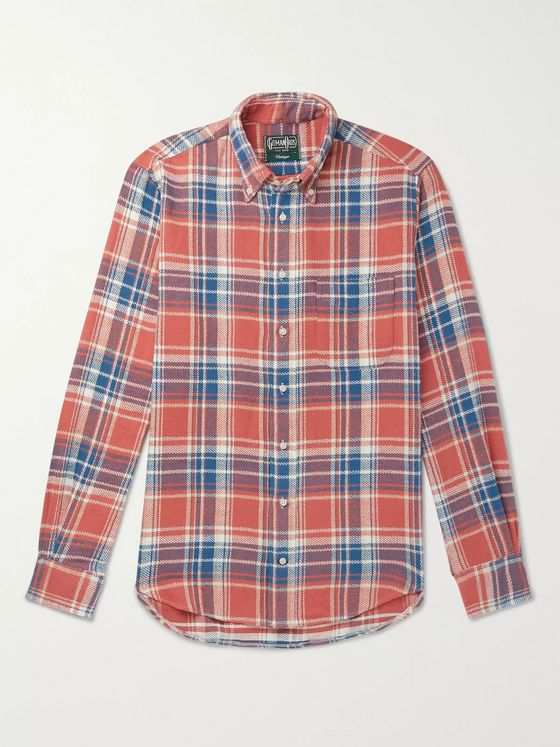 Gitman Vintage Button-Down Collar Checked Brushed Cotton-Flannel Shirt