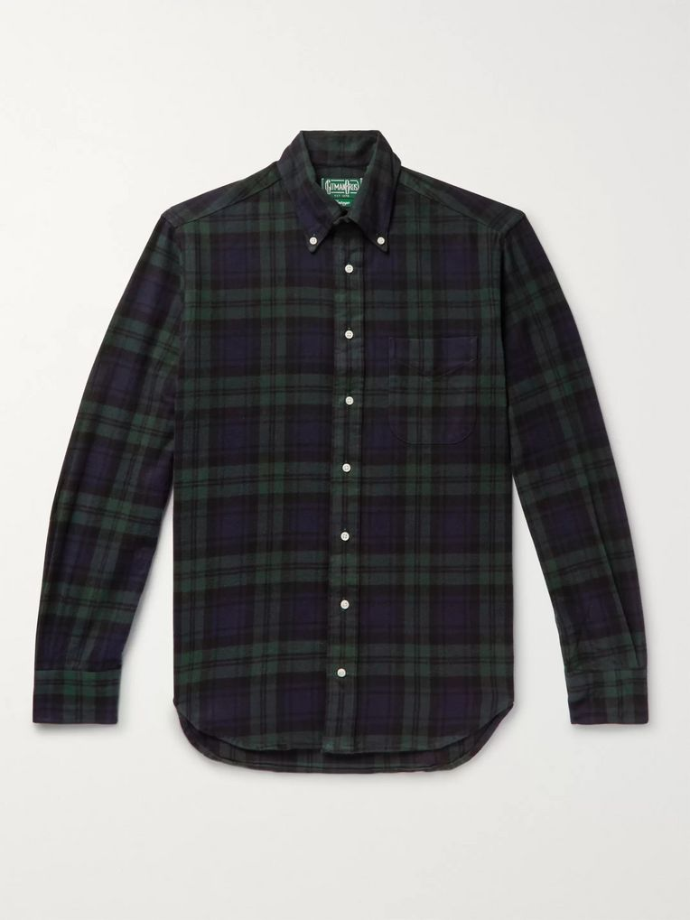 Gitman Vintage Button-Down Collar Black Watch Checked Brushed Cotton-Flannel Shirt