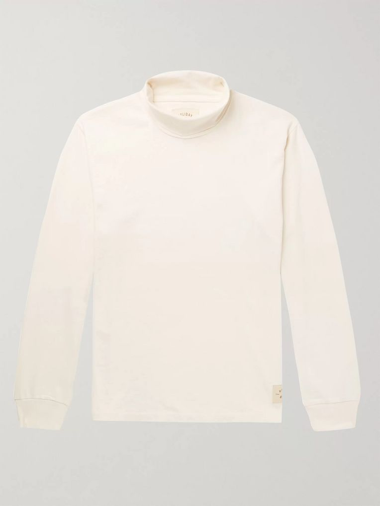 Holiday Boileau Mock-Neck Cotton-Jersey T-Shirt