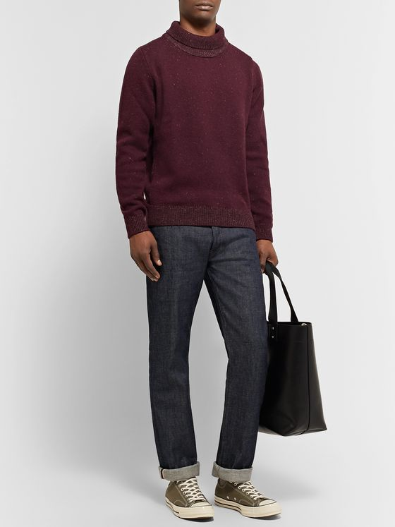 Inis Meáin Mélange Merino Wool and Linen-Blend Rollneck Sweater