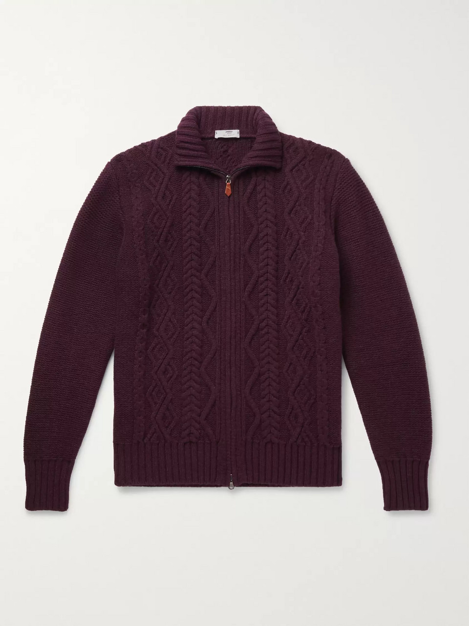 Inis Meáin Cable-Knit Merino Wool Zip-Up Cardigan