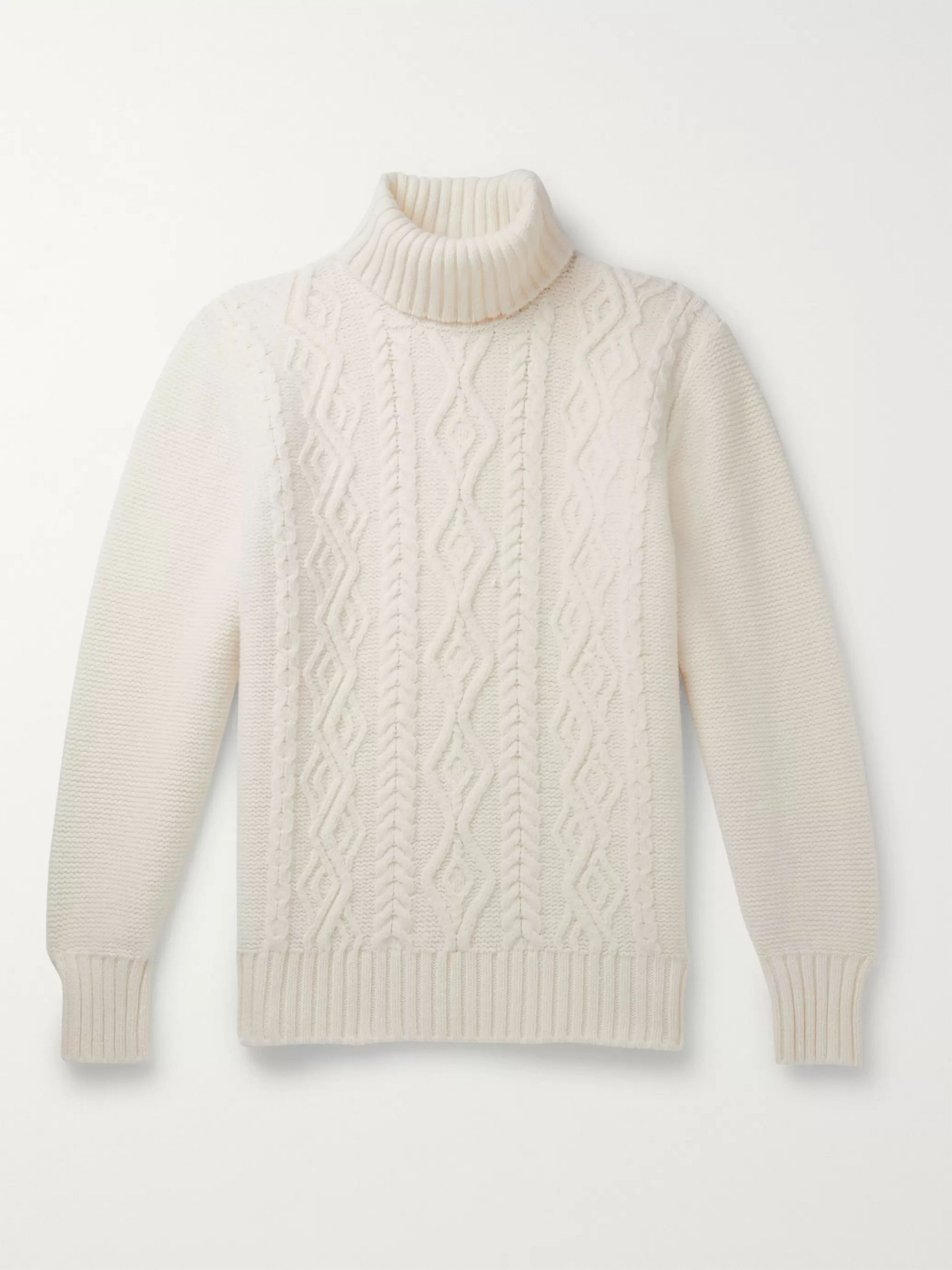 Slim Fit Cable Knit Merino Wool Rollneck Sweater by Inis Meáin