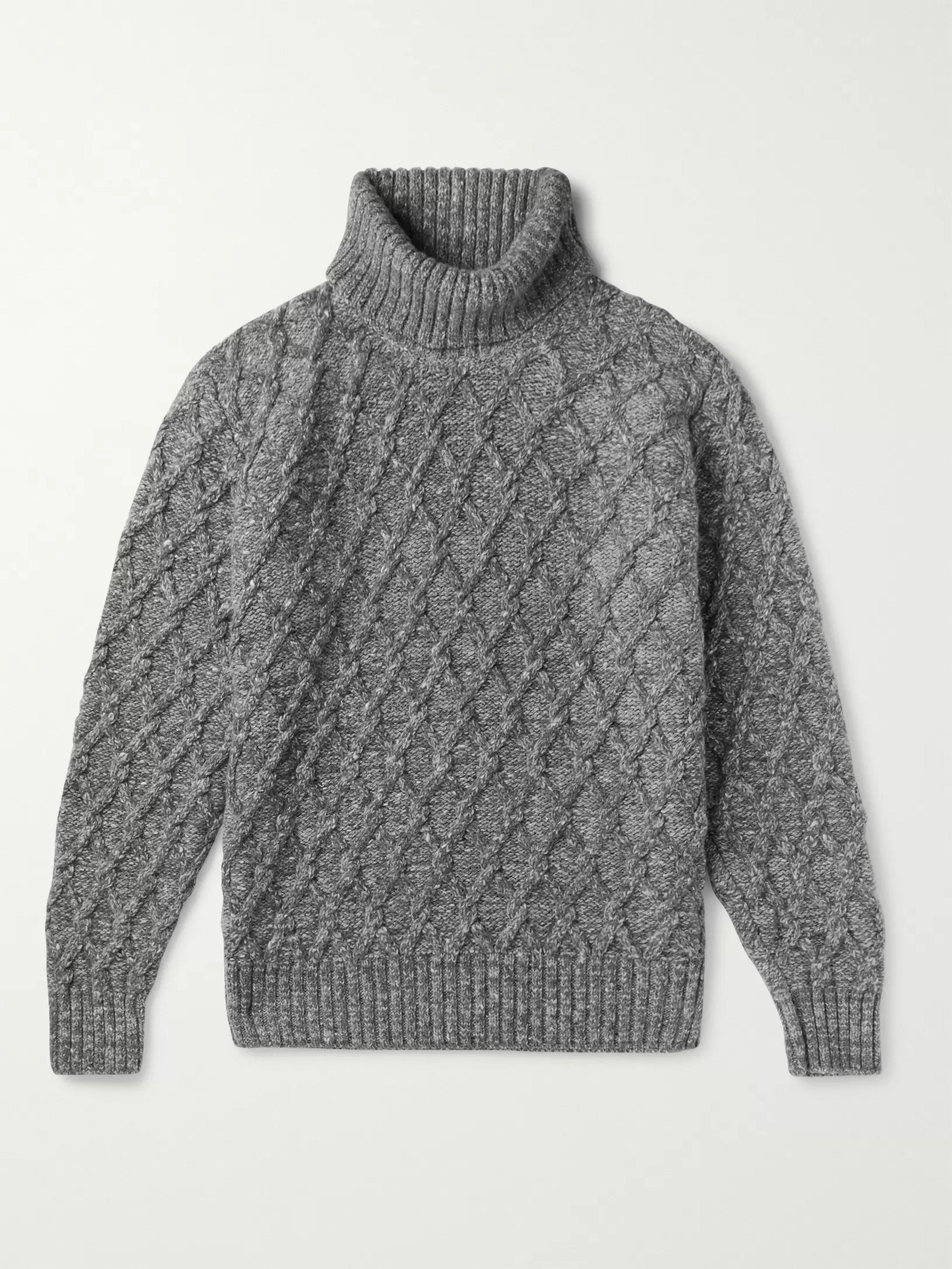 Inis Meáin Mélange Cable-Knit Wool and Cashmere-Blend Rollneck Sweater