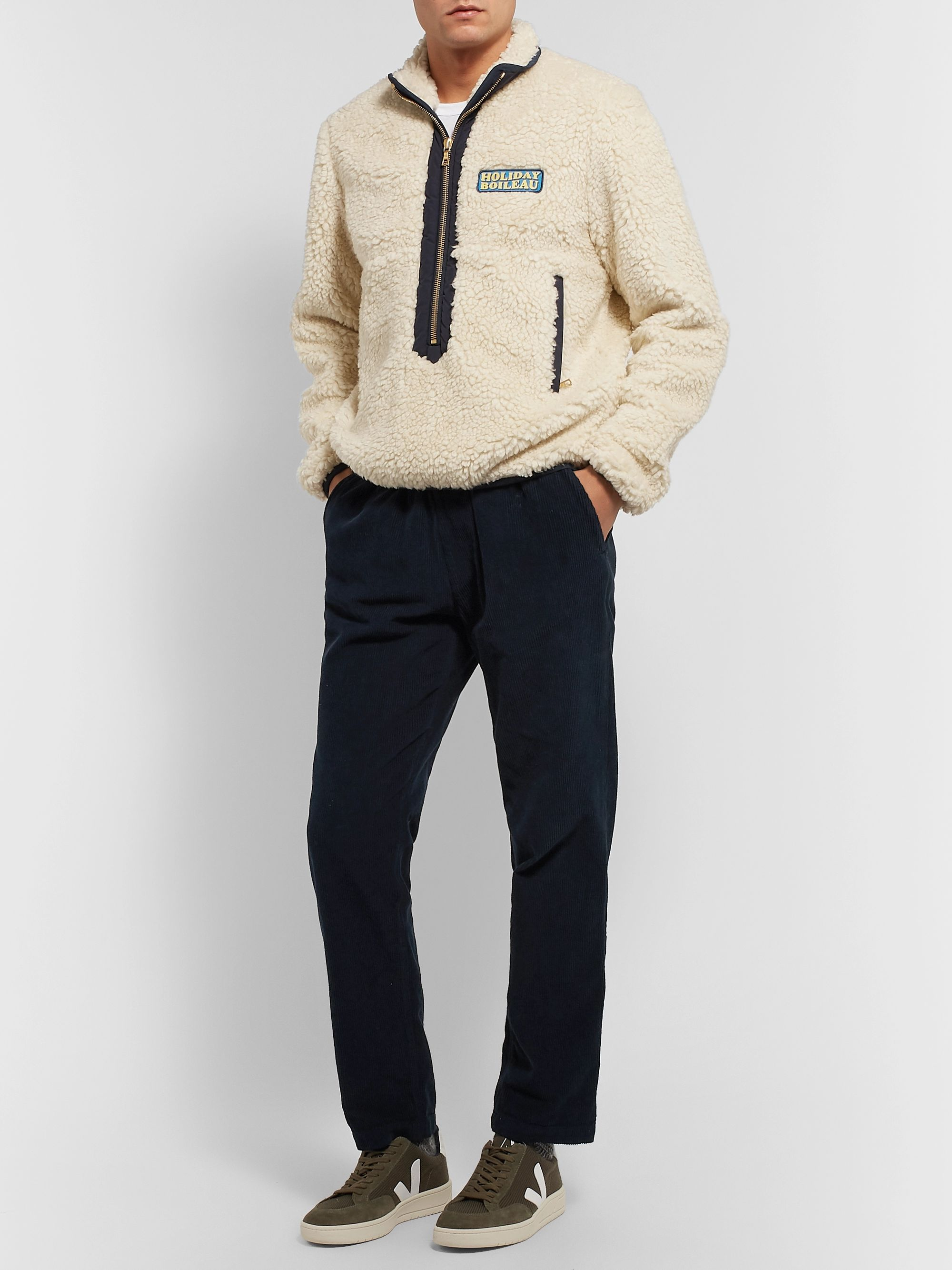 Holiday Boileau Yvon Logo-Appliquéd Shell-Trimmed Fleece Half-Zip Jacket