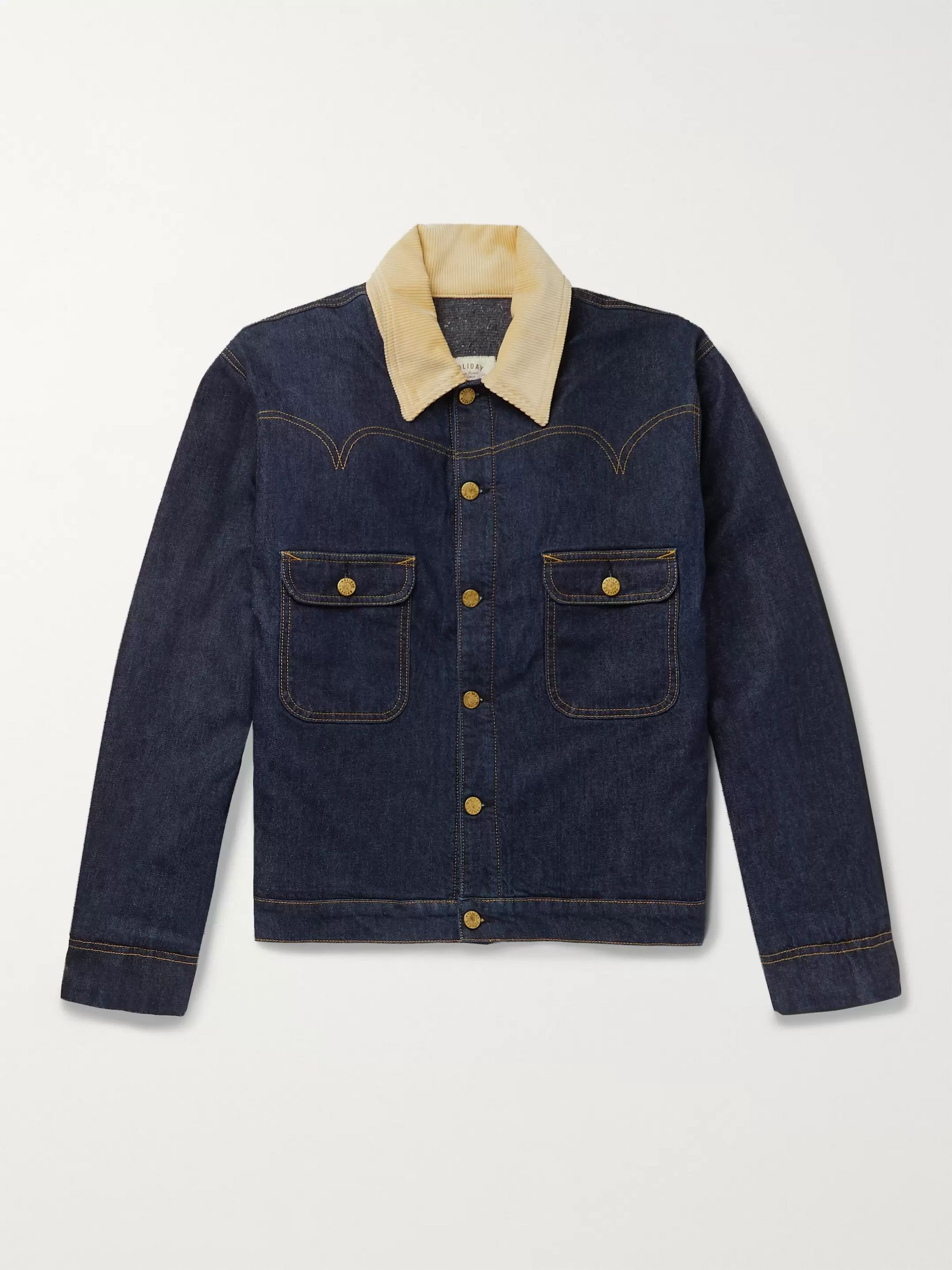 Holiday Boileau Corduroy-Trimmed Denim Jacket