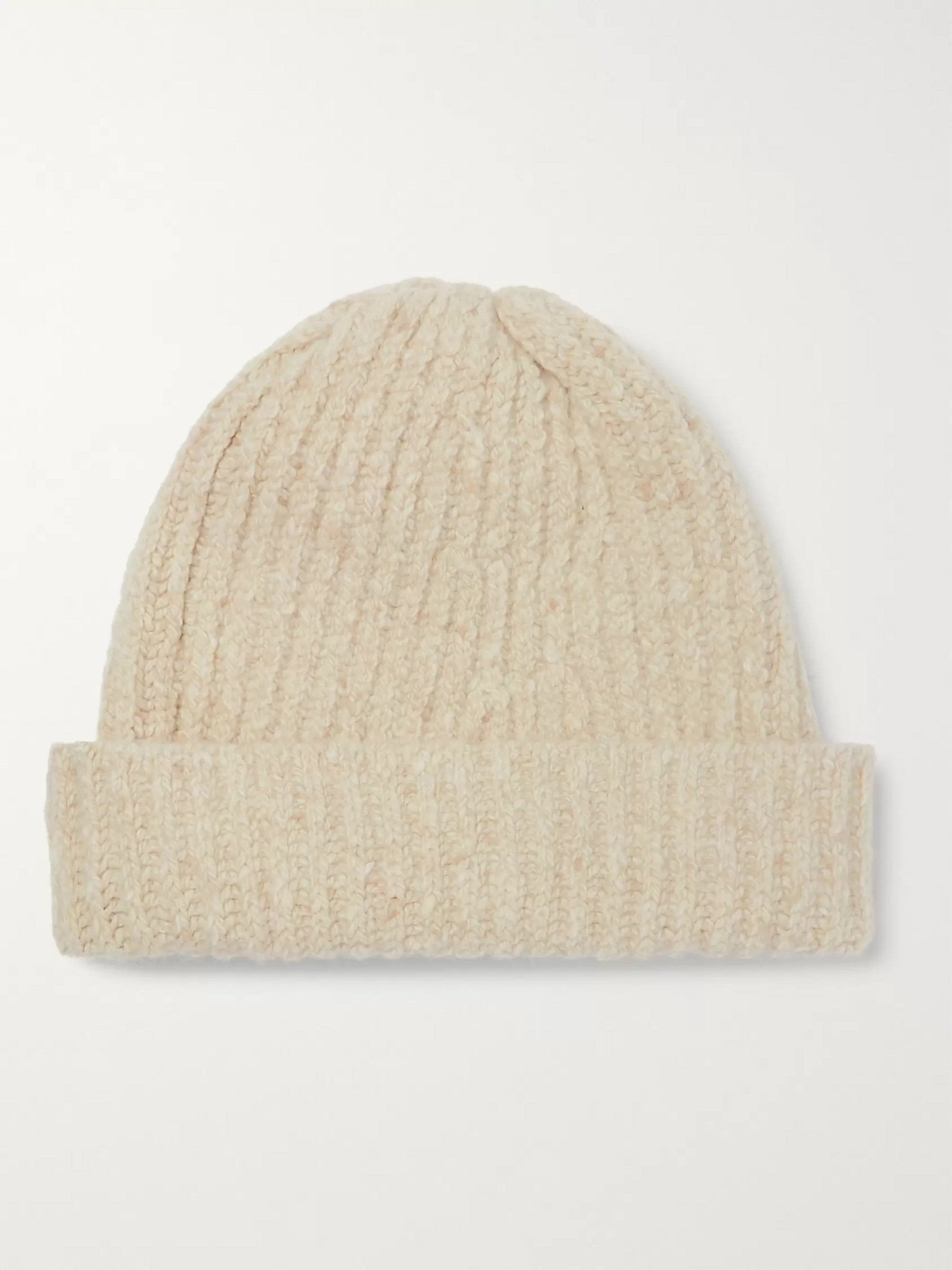 Inis Meáin Ribbed Merino Wool and Cashmere-Blend Beanie