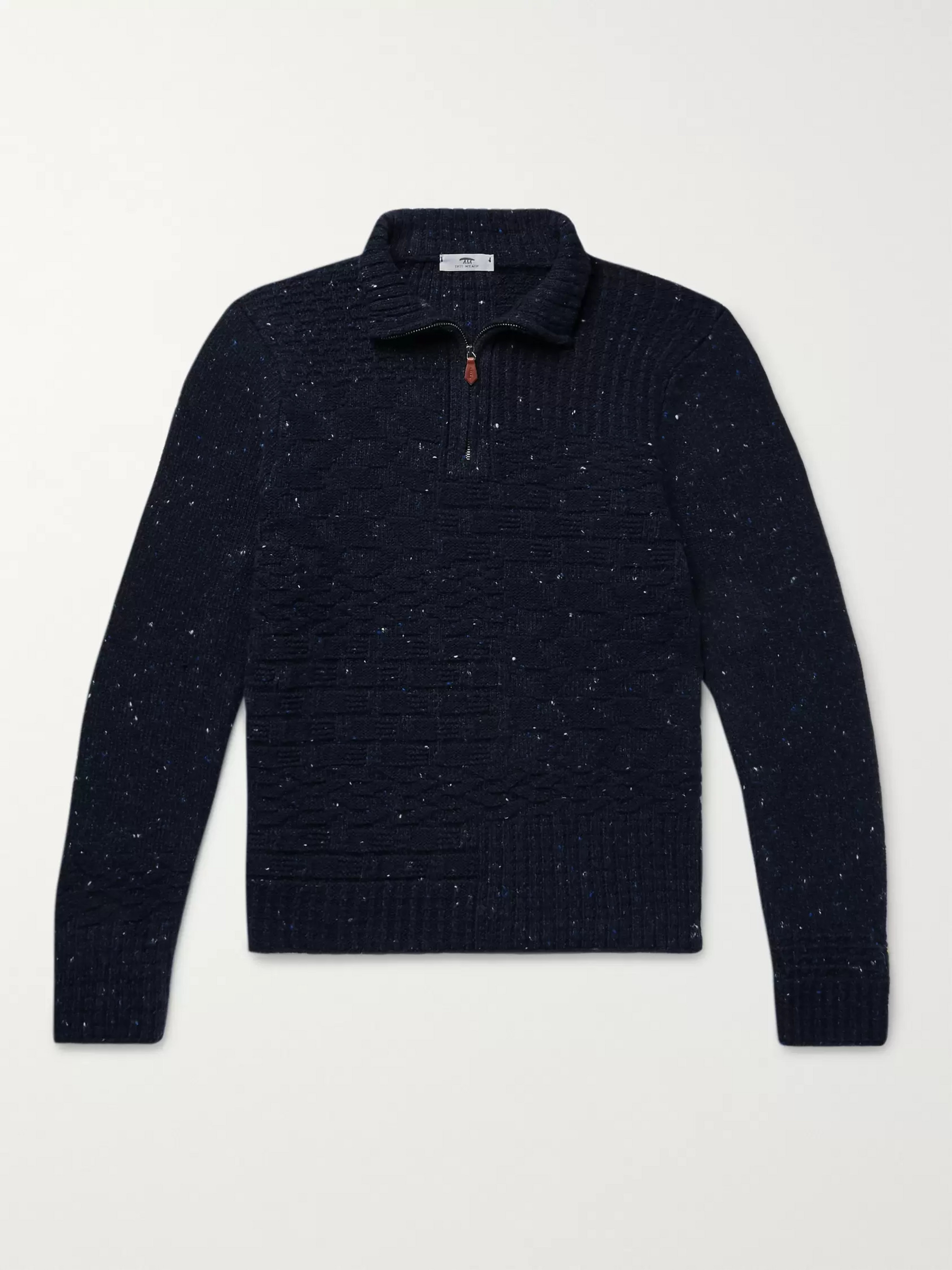 Inis Meáin Donegal Merino Wool and Cashmere-Blend Half-Zip Sweater