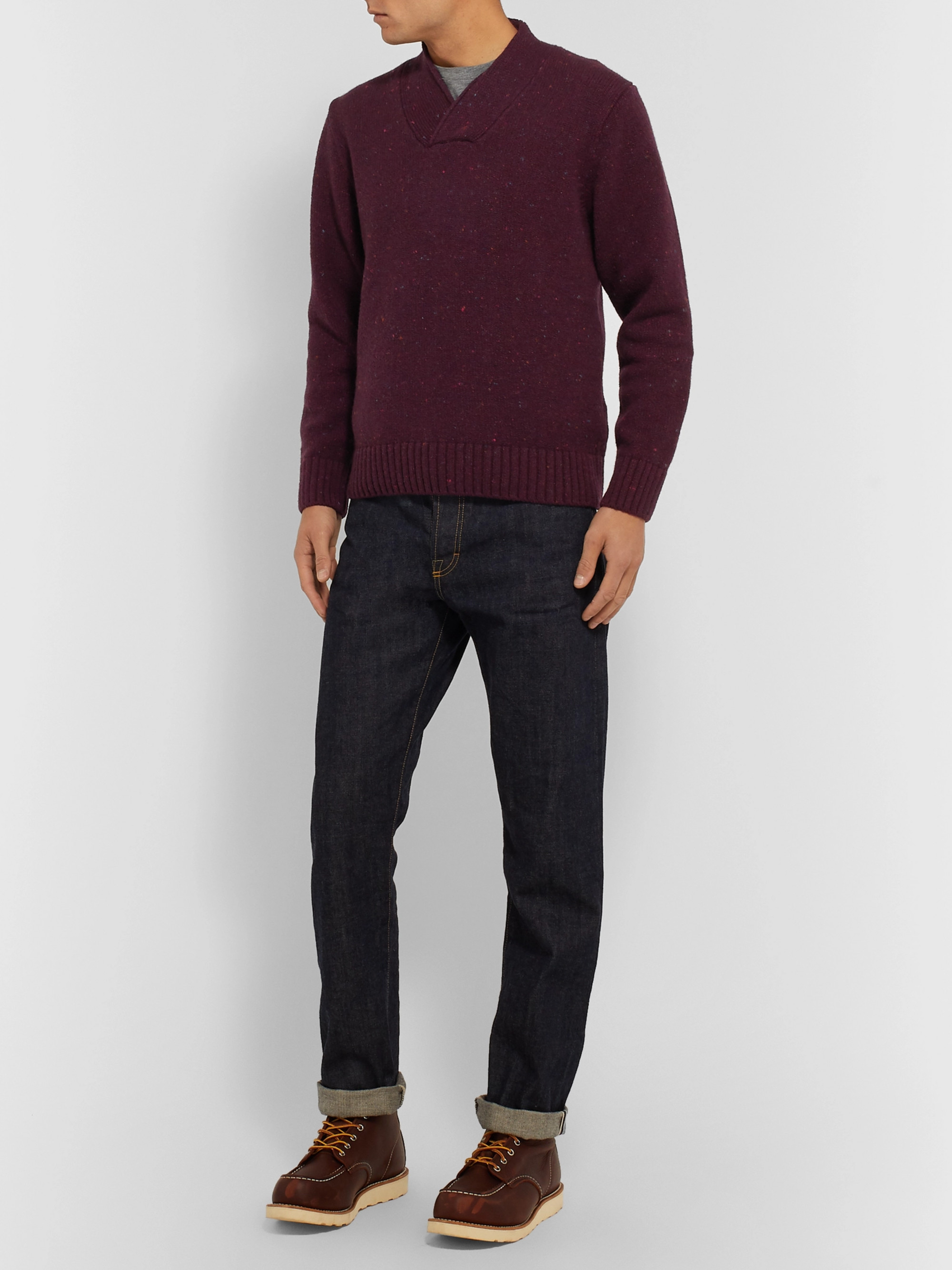 Inis Meáin Shawl-Collar Donegal Merino Wool and Cashmere-Blend Sweater