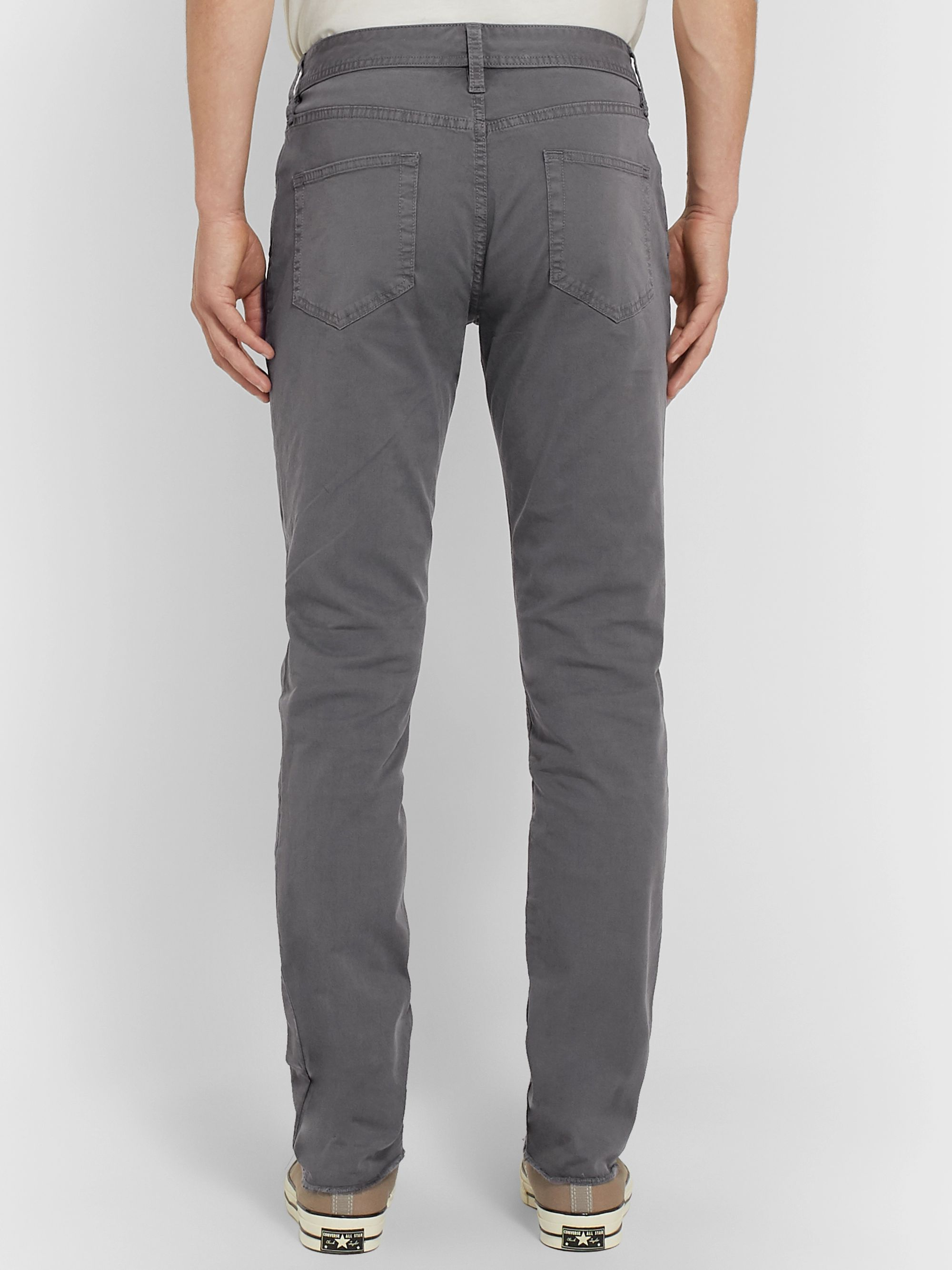 James Perse Grey Slim-Fit Cotton-Blend Twill Trousers