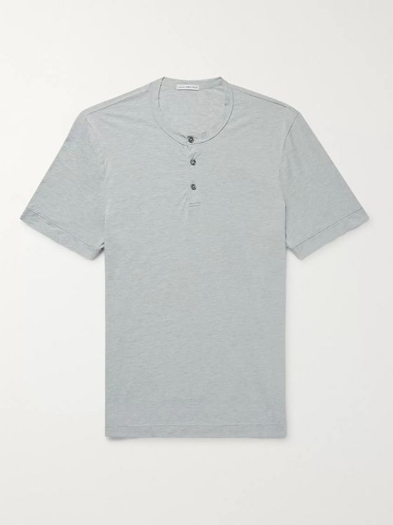 James Perse Mélange Cotton and Cashmere-Blend Jersey Henley T-Shirt