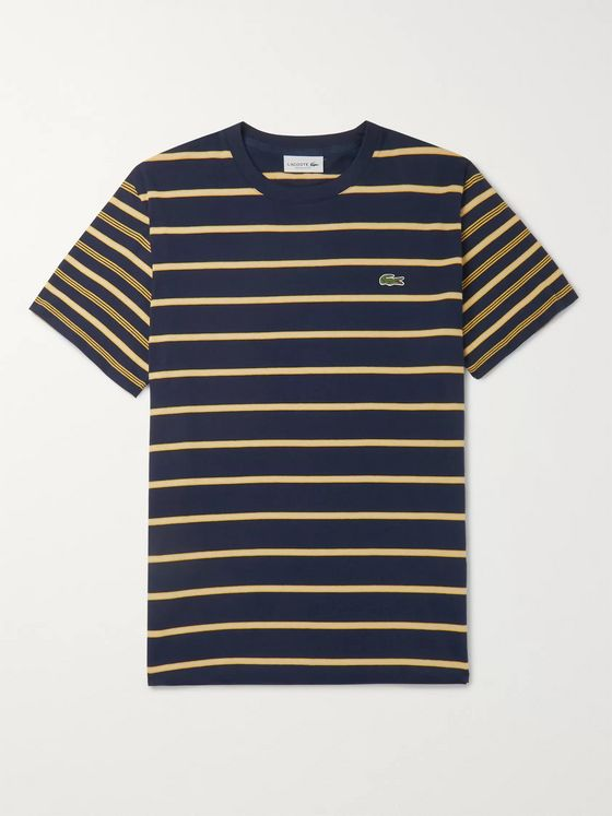 Lacoste Logo-Appliquéd Striped Pima Cotton-Jersey T-Shirt