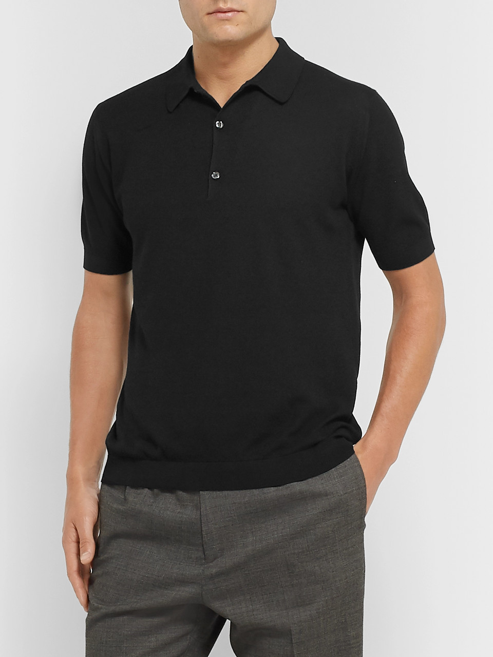 John Smedley Roth Knitted Sea Island Cotton Polo Shirt