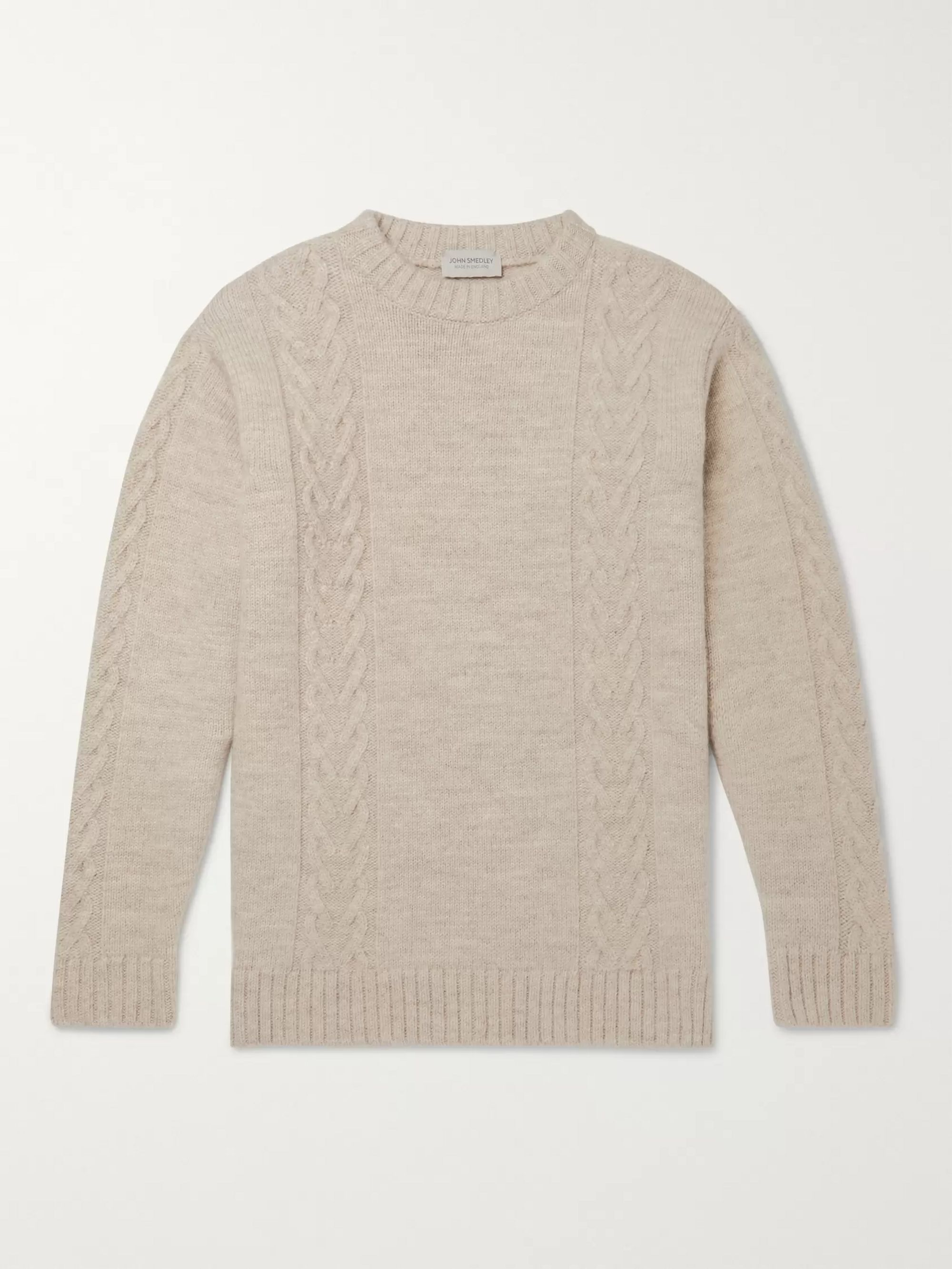 John Smedley Oscar Mélange Cable-Knit Wool Sweater