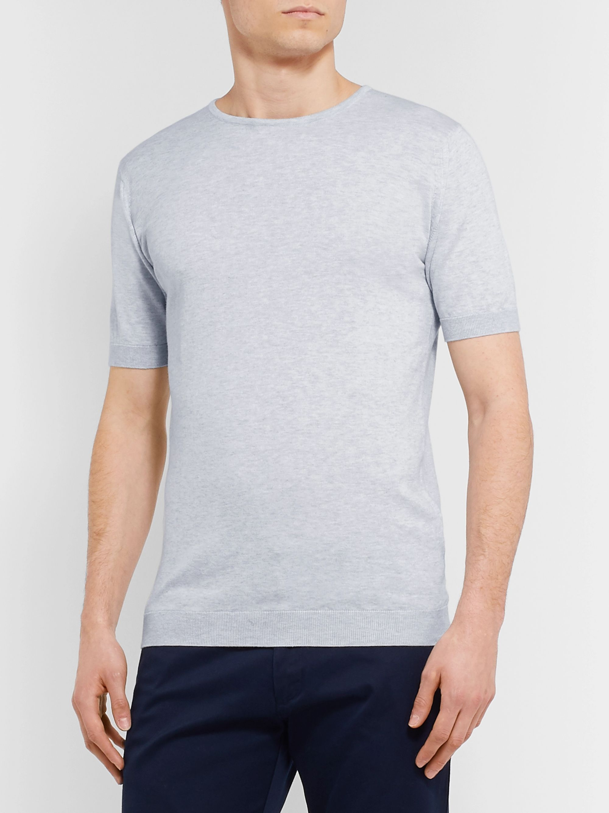 John Smedley Slim-Fit Mélange Sea Island Cotton T-Shirt