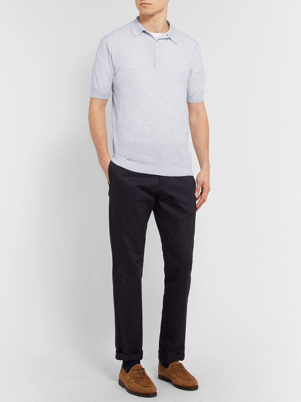 John Smedley Slim-Fit Mélange Sea Island Cotton Polo Shirt