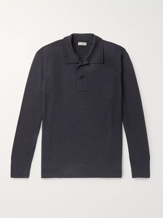 Margaret Howell Mélange Merino Wool Polo Shirt