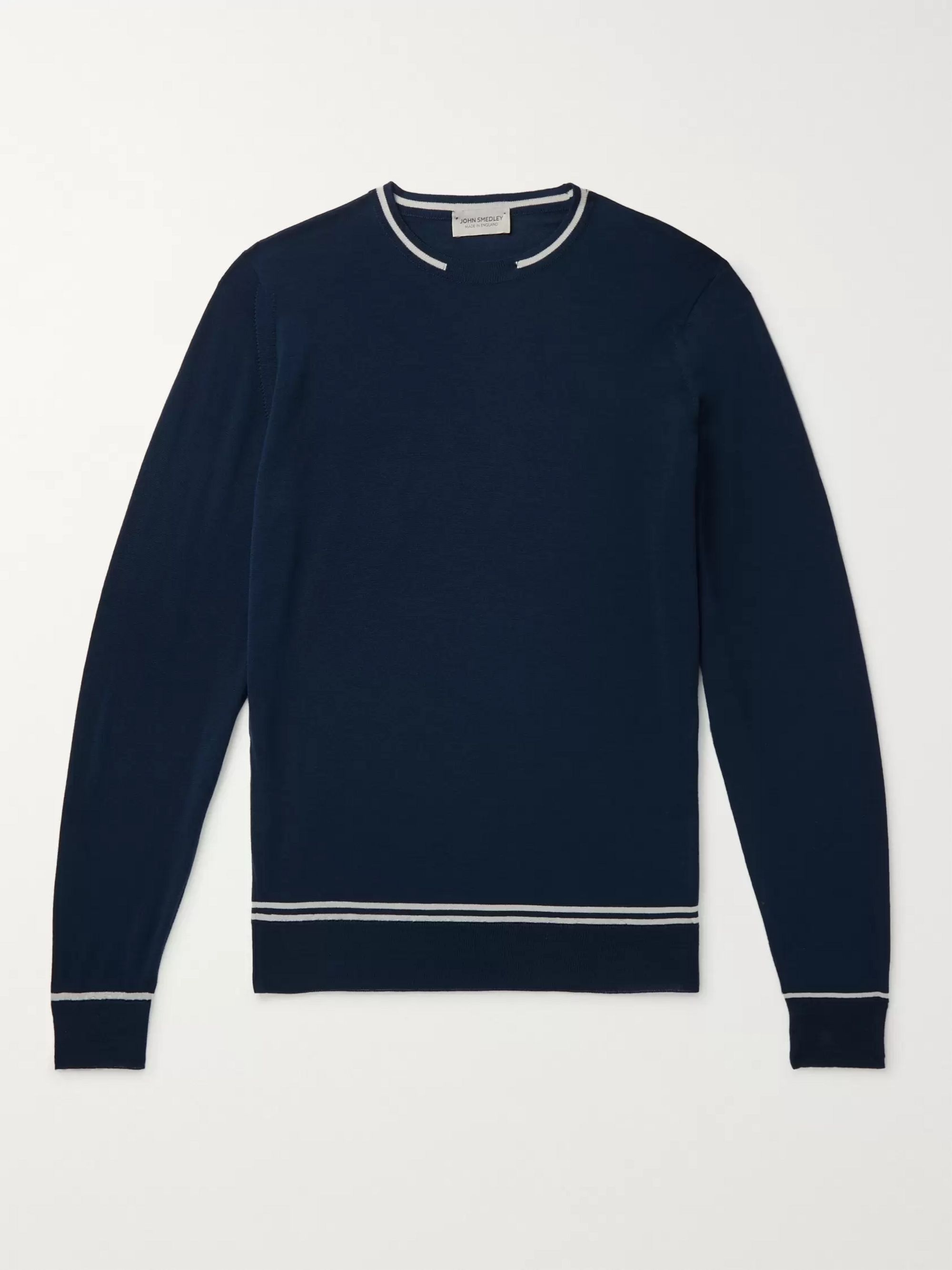 John Smedley Slim-Fit Contrast-Tipped Merino Wool Sweater