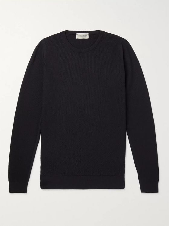 John Smedley 1 Singular Slim-Fit Honeycomb-Knit Merino Wool Sweater