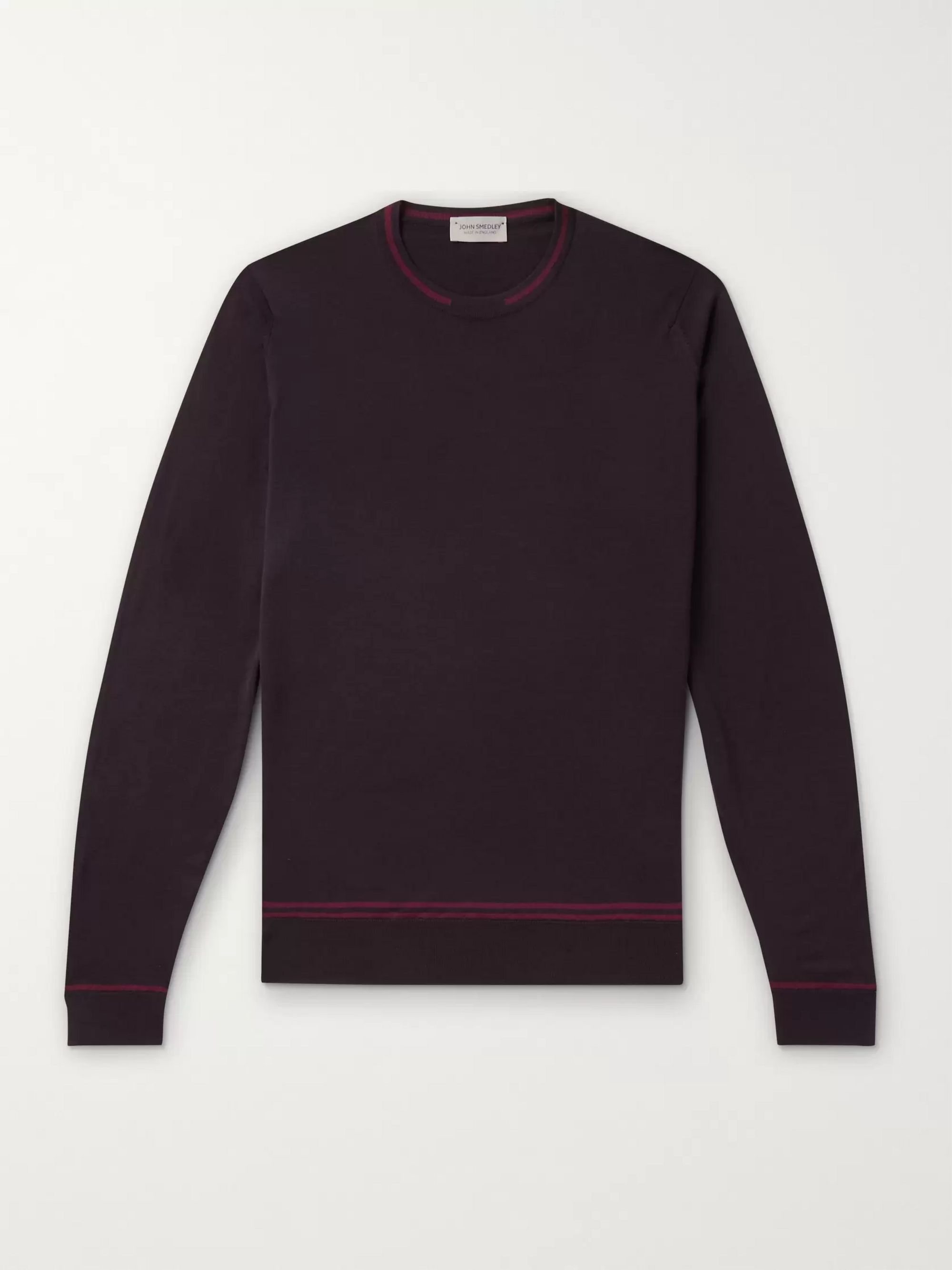John Smedley Contrast-Tipped Merino Wool Sweater