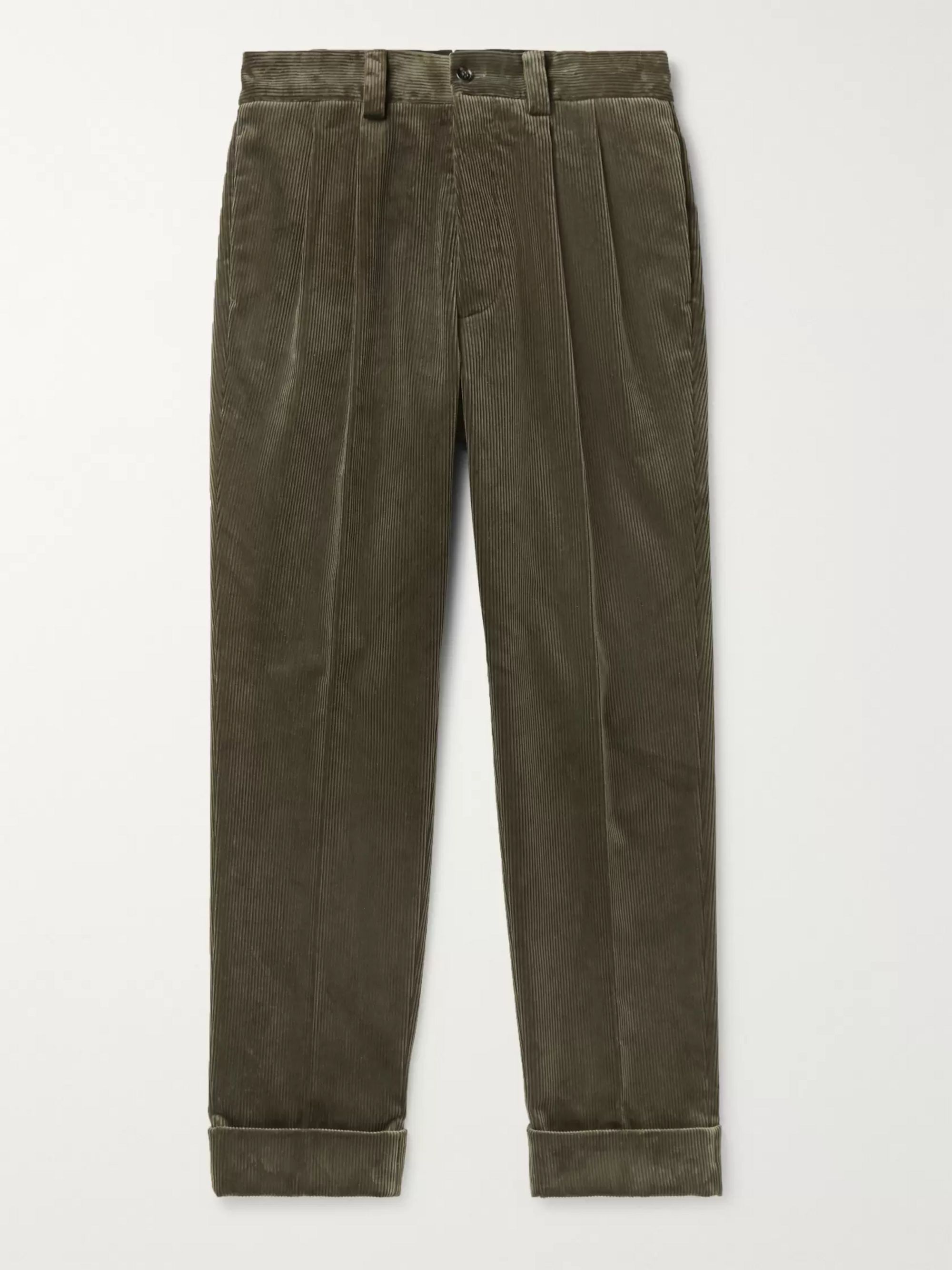 Margaret Howell Tapered Pleated Cotton-Corduroy Trousers