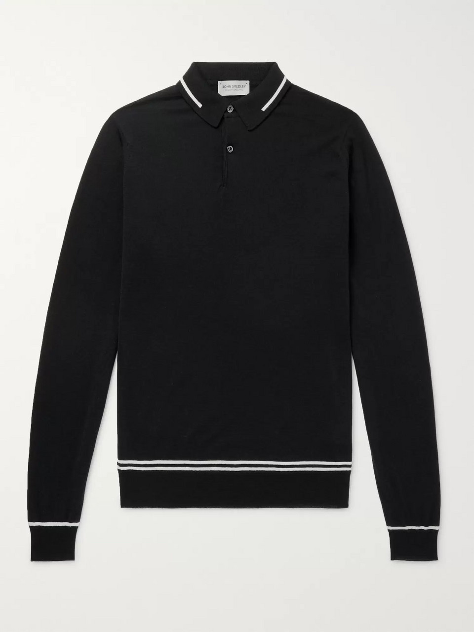 John Smedley Treeby Contrast-Tipped Wool Polo Shirt
