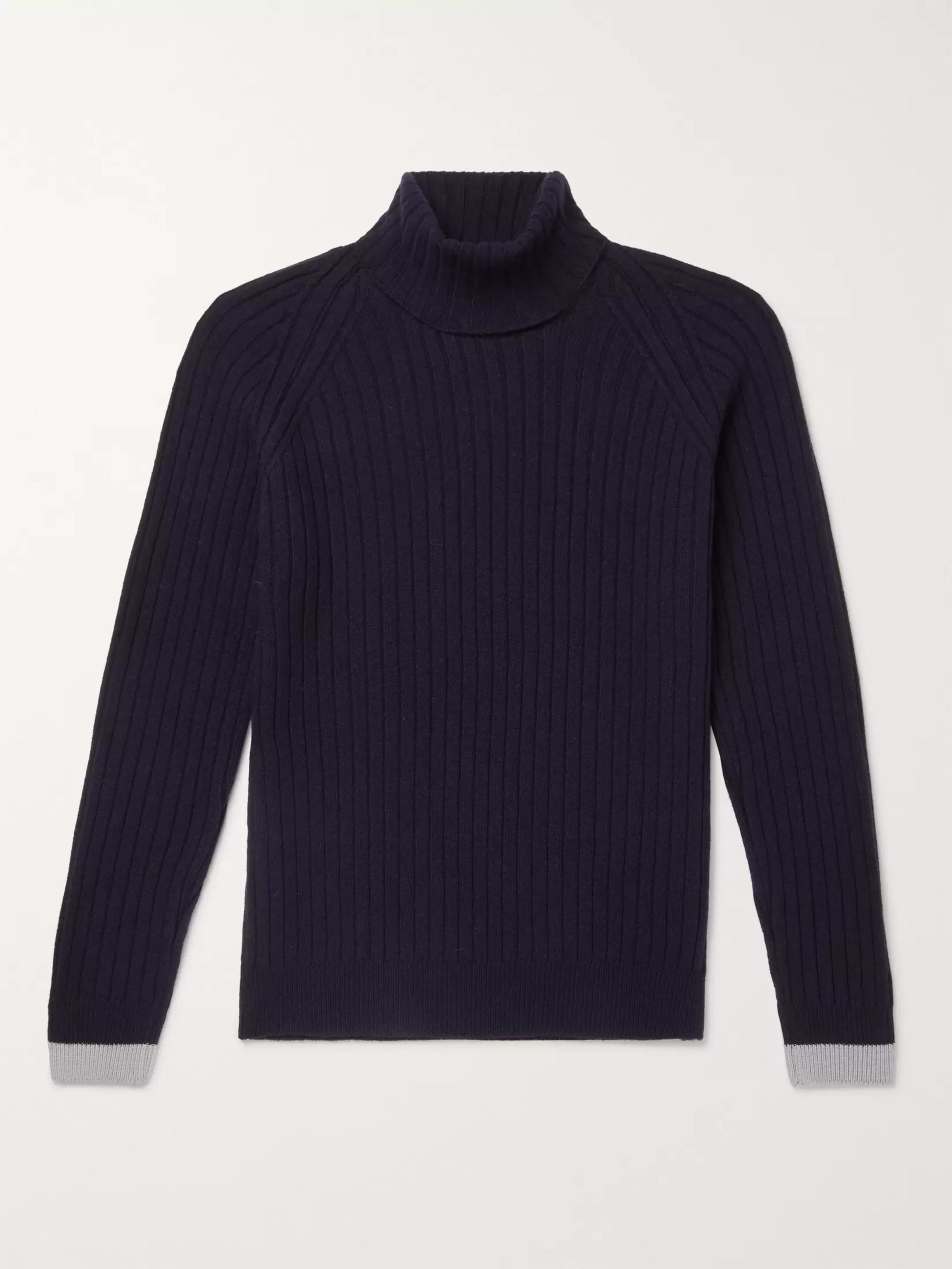 John Smedley Roman Contrast-Tipped Ribbed Merino Wool and Cashmere-Blend Rollneck Sweater