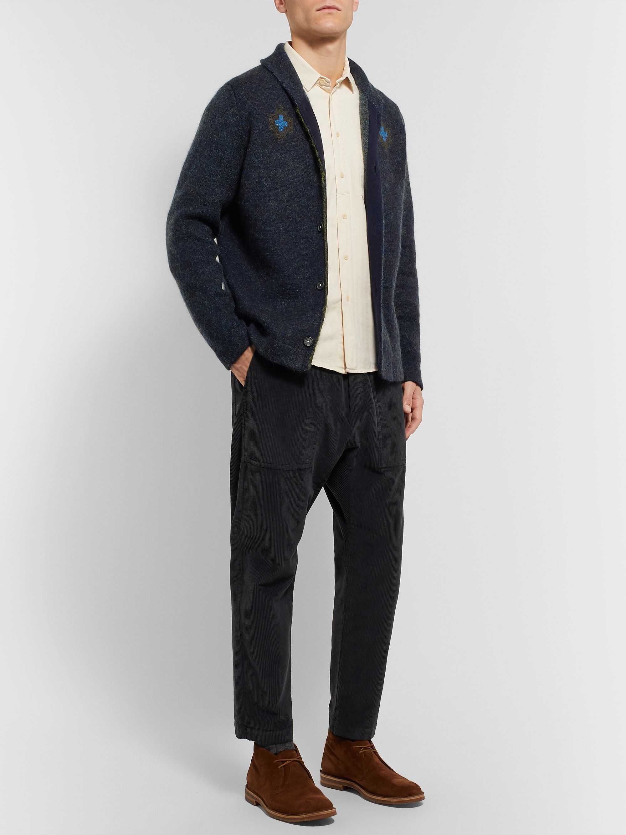 Massimo Alba Slim-Fit Intarsia Cashmere, Mohair and Silk-Blend Cardigan
