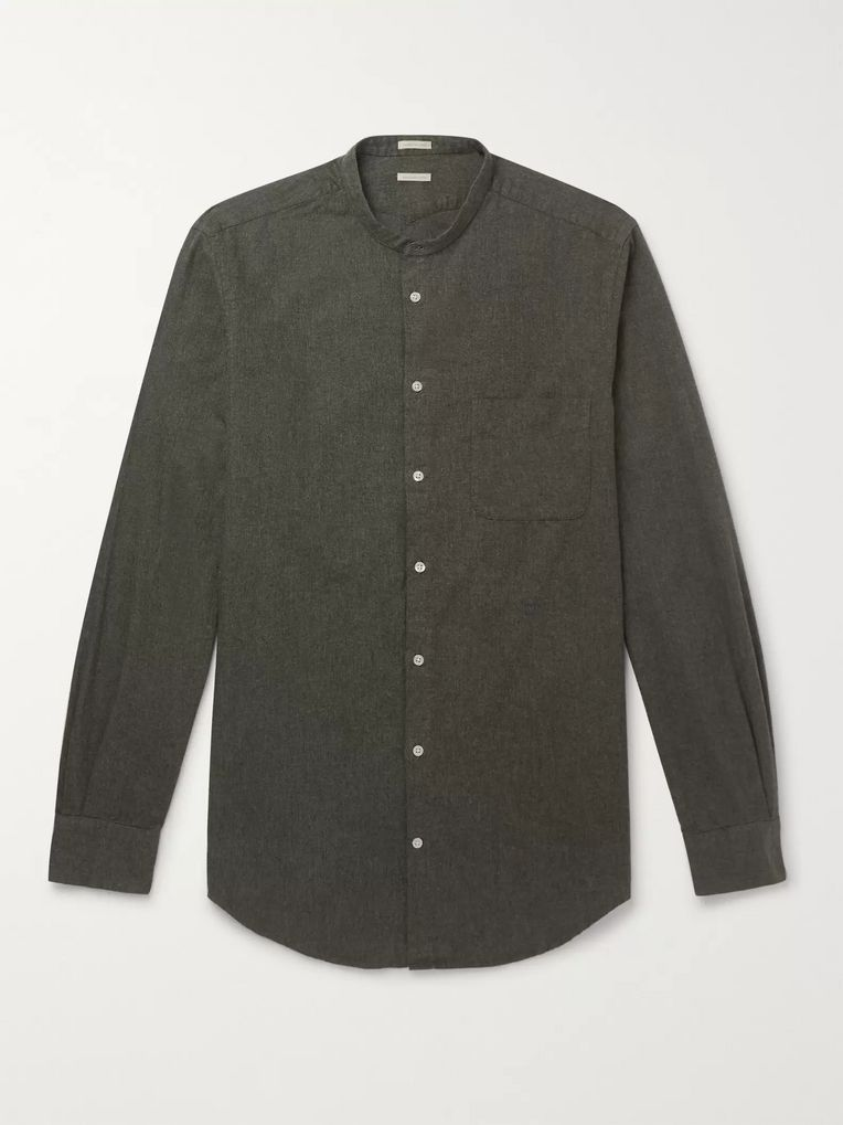 Massimo Alba Grandad-Collar Cotton-Flannel Shirt