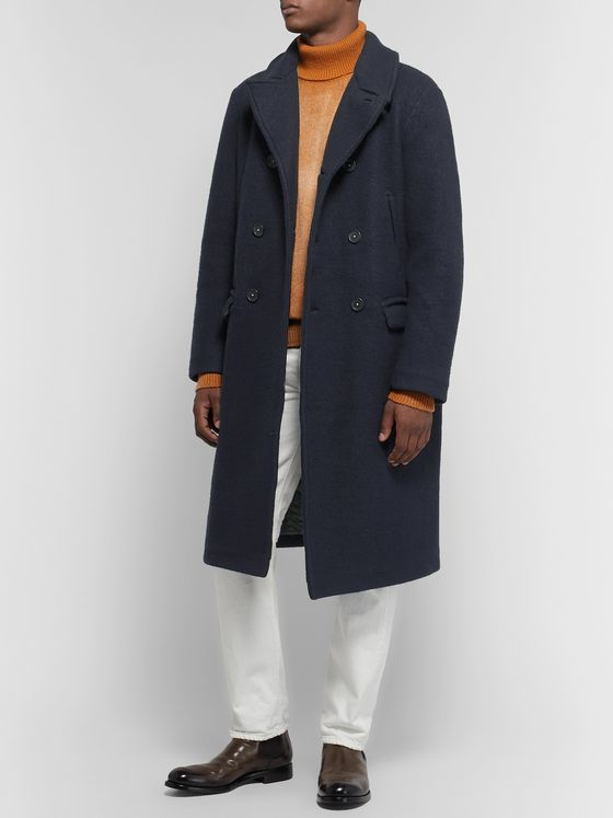 Massimo Alba Double-Breasted Brushed Wool-Blend Overcoat