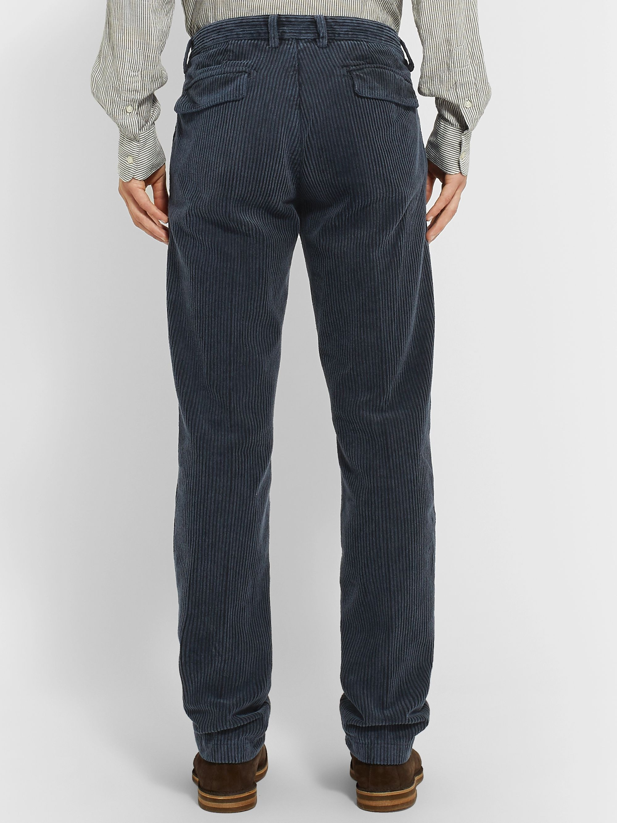 Massimo Alba Navy Tapered Cotton-Corduroy Trousers