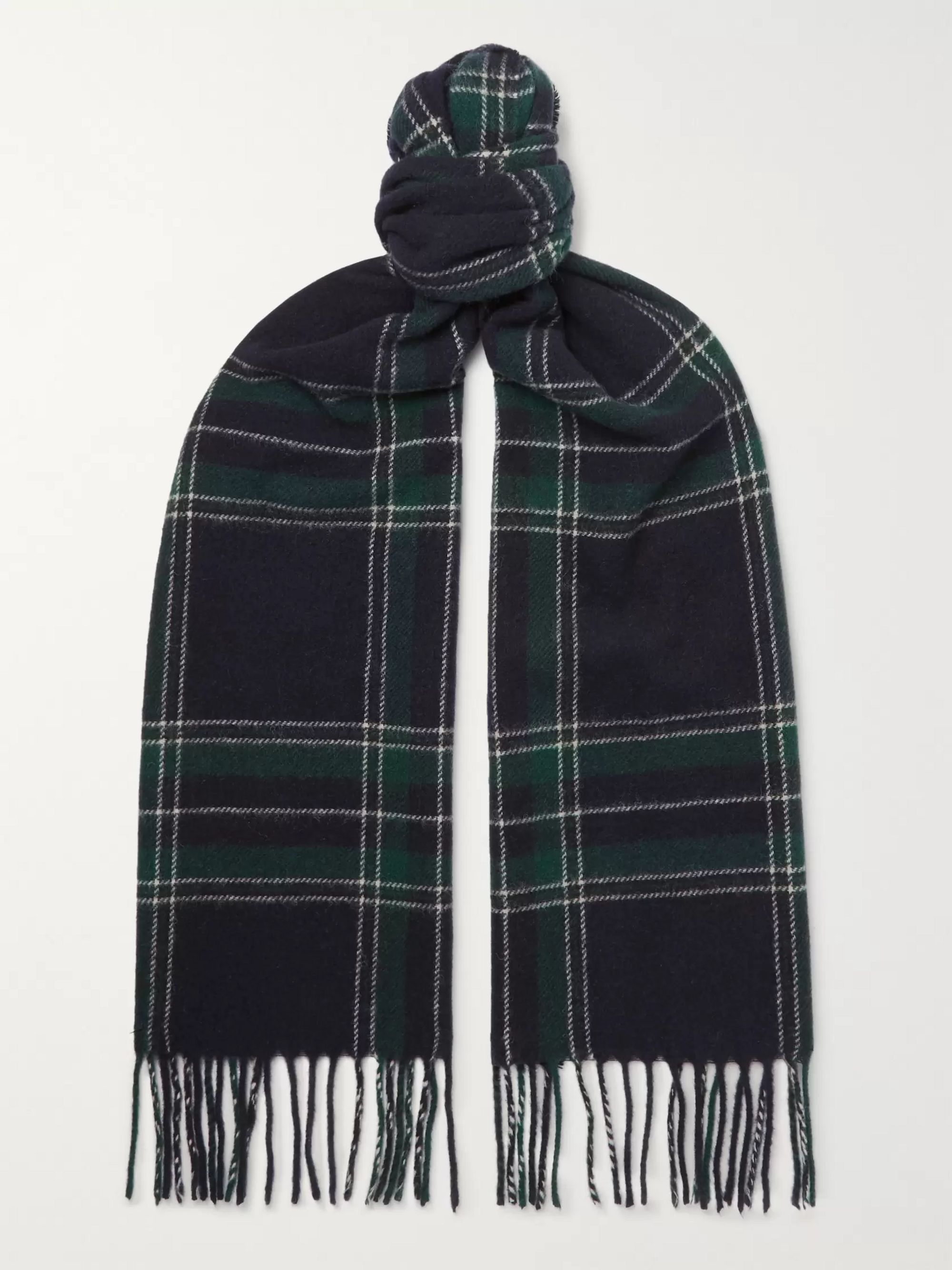 NN07 Fringed Black Watch Checked Wool Scarf