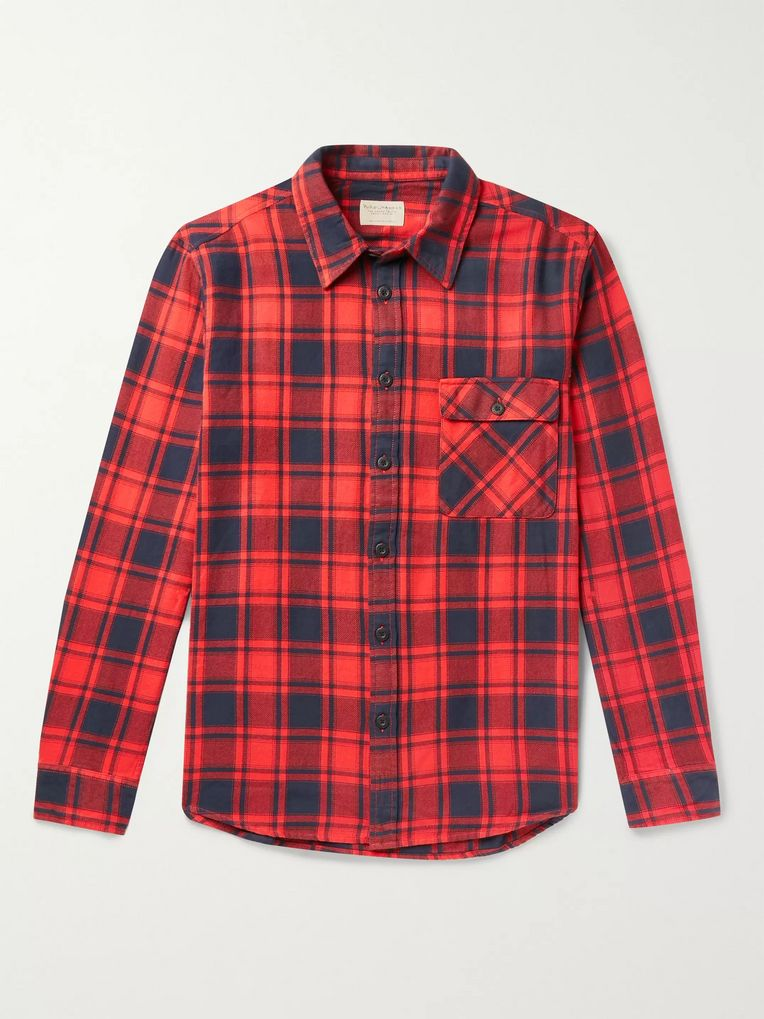 Nudie Jeans Sten Checked Cotton-Flannel Shirt