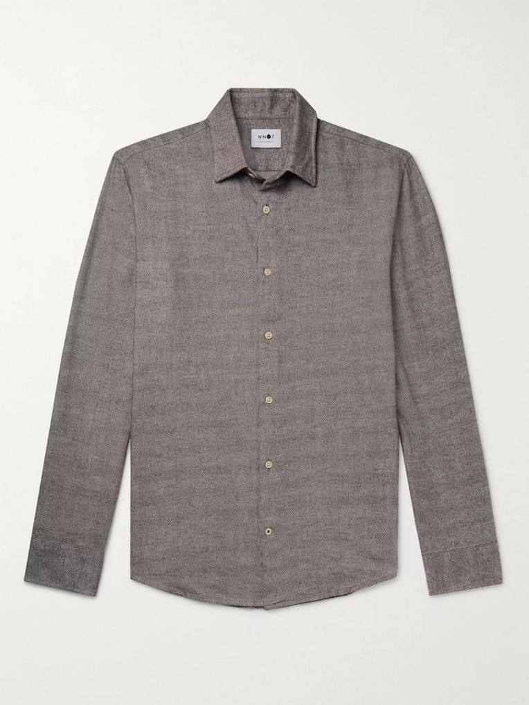 NN07 Errico Mélange Cotton-Flannel Shirt