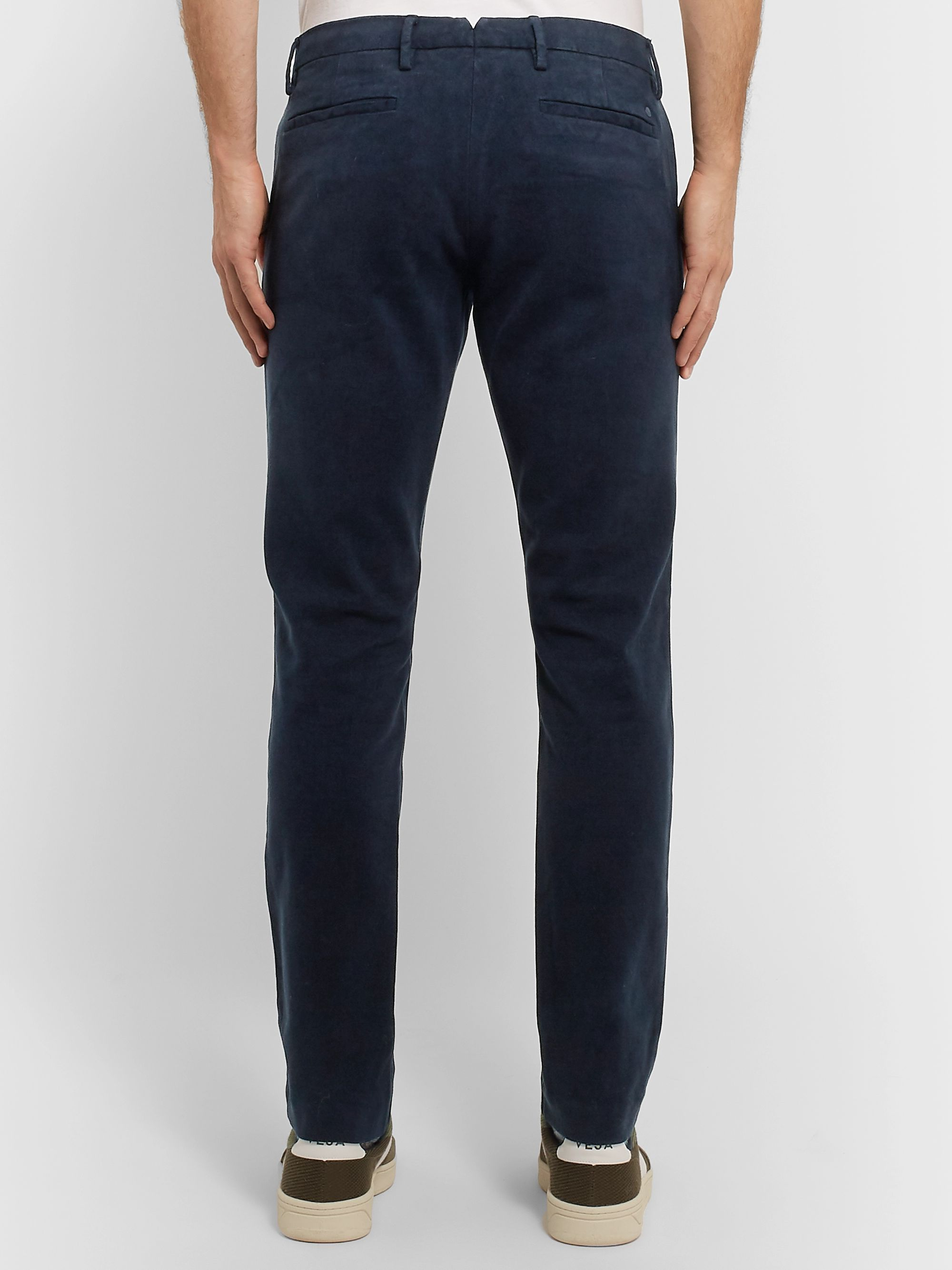 NN07 Navy Theo Tapered Tencel-Blend Moleskin Chinos