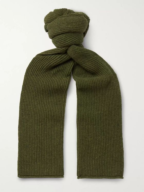 NN07 Ribbed Donegal Wool-Blend Scarf