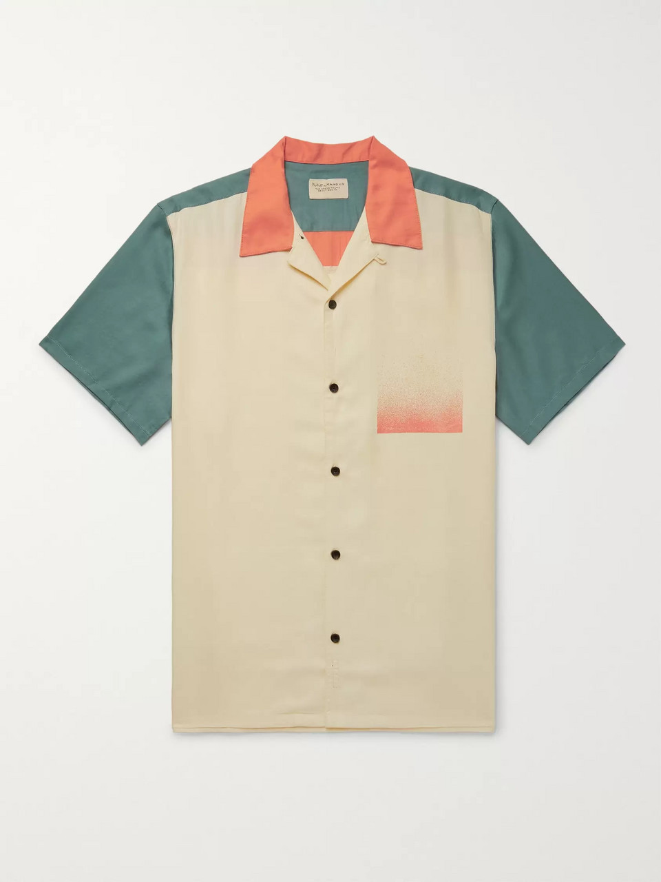 Nudie Jeans Jack Camp-Collar Colour-Block Lyocell-Twill Shirt