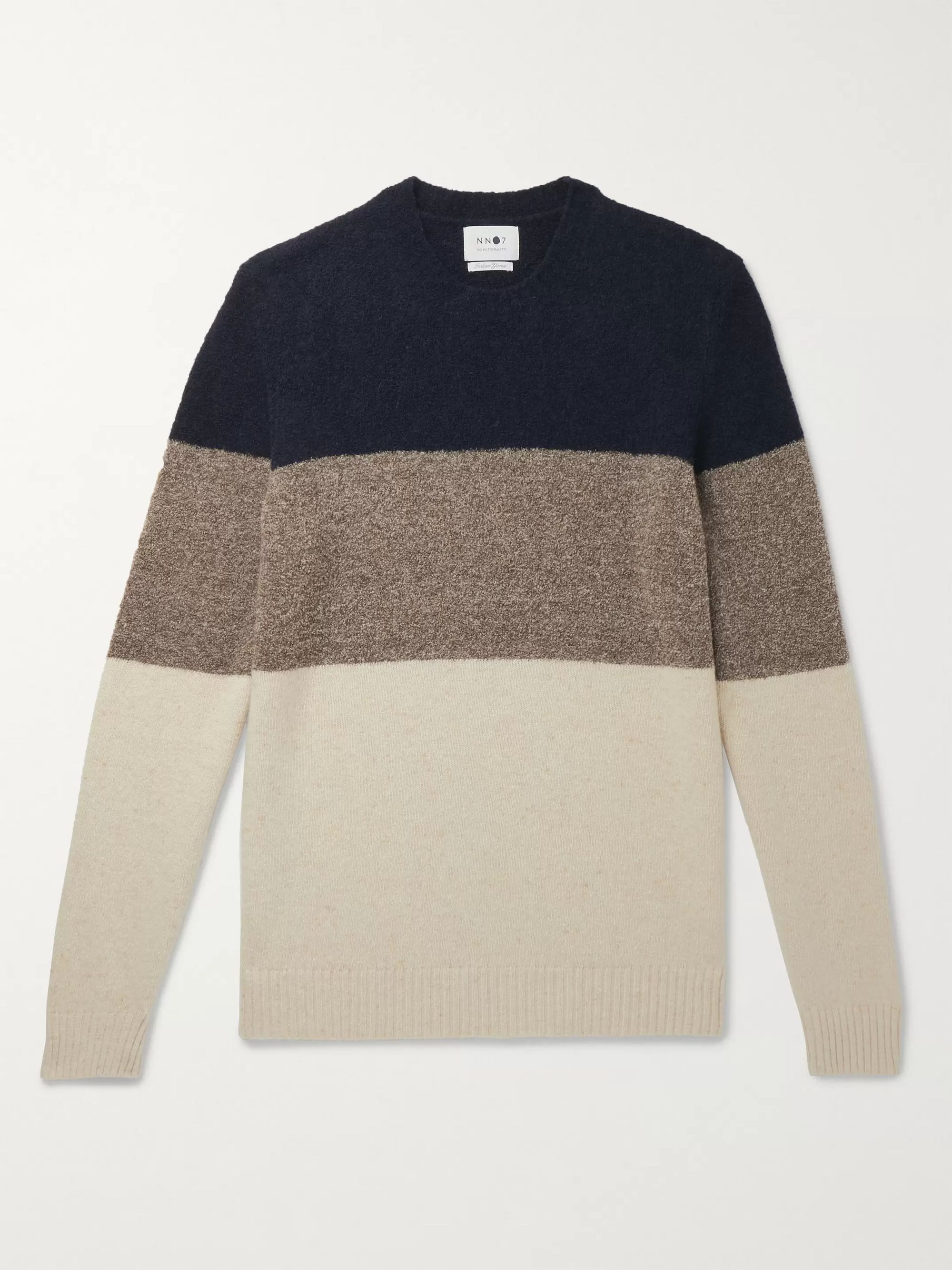 NN07 Ed Striped Bouclé and Donegal Wool-Blend Sweater
