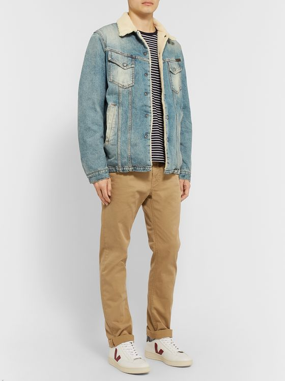Nudie Jeans Lenny Faux Shearling-Lined Organic Denim Trucker Jacket