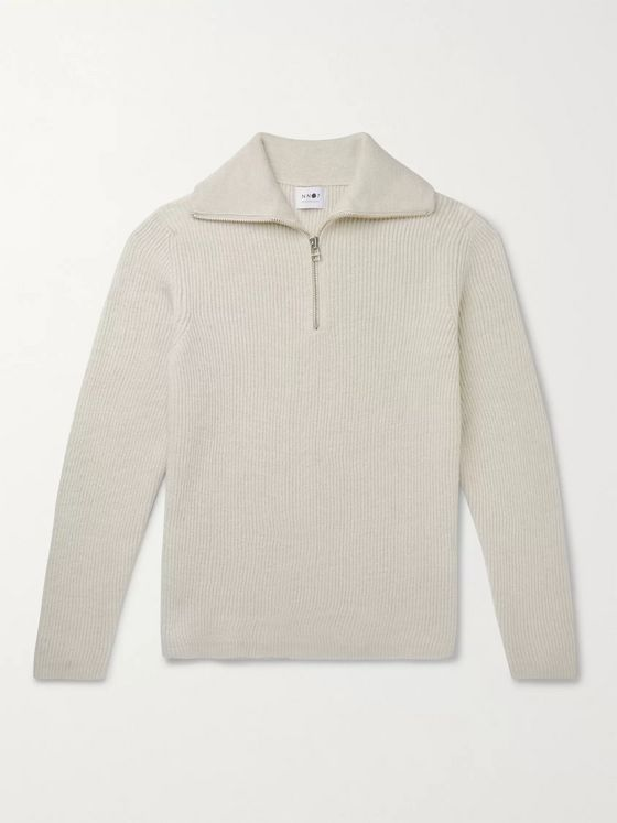 NN07 Holger Ribbed Wool Half-Zip Sweater
