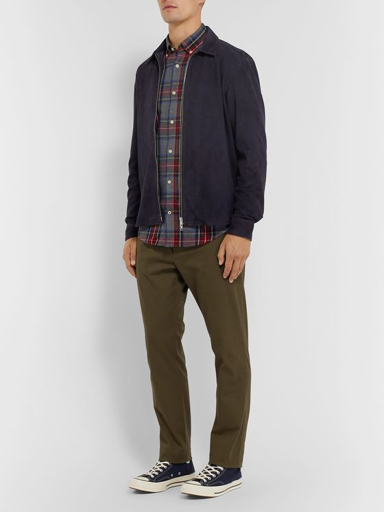 NN07 Button-Down Collar Checked Cotton-Flannel Shirt